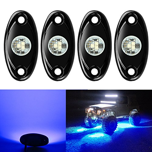 4 Pods LED Rock Lights, Ampper Waterproof LED Neon Underglow Light for Car Truck ATV UTV SUV Jeep Offroad Boat Underbody Glow Trail Rig Lamp (Blue) (Led Wheel Rim Light Kit With Wireless Remote)
