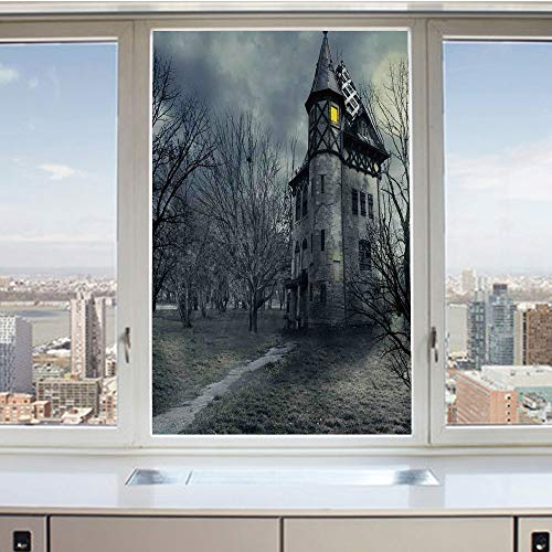 3D Decorative Privacy Window Films,Halloween Design with Gothic