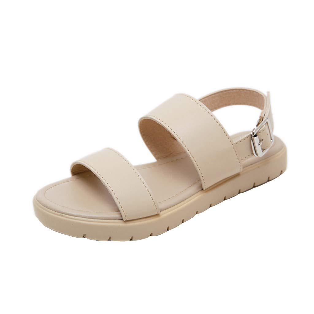 Benficial Women's Summer Casual Fashion Flat with Beach Open Toe Roman Sandals Shoes Beige