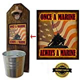 Marine Corps Bottle Opener and Cap Catcher, Wall Mounted - Handcrafted by a Vet. Solid Pine. Rustic cast iron bottle opener and galvanized bucket. Great Vet Gift. Semper Fi!
