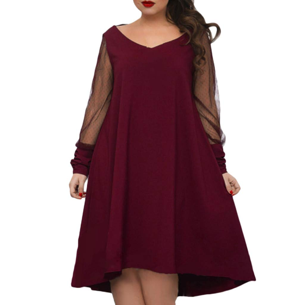 Plus Size Women Long Sleeve Baggy Midi Dress Ladies Party V Neck Lace Tunic Dress Top 2XL-6XL (Wine Red, XXXXXL)