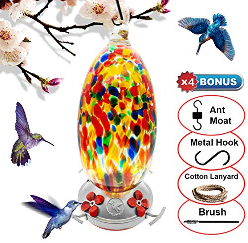 - REZIPO Hummingbird Feeder with Perch - Hand Blown Glass - Orange - 37 Fluid Ounces Hummingbird Nectar Capacity Include Hanging Wires and Moat Hook