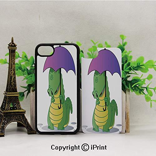 iPhone 8 Case,iPhone 7 Case,Cute-Crocodile-Standing-with-Umbrella-Rain-Cartoon-Humor-Fiction-Safari-Design-Decorative,Lining Hard Shell Shockproof Full-Body Protective Case Cover ()