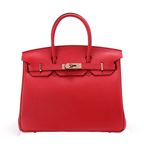 WTUS Mujer nuevo paquete de lichi líneas platino las bolsas de cuero marca la primera capa de cuero de damas bolsas de moda de un solo hombro portátil Rojo