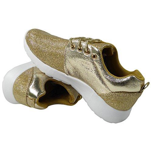New Glitter Ladies 3 8 Fitness Stringate Oro Running Taglia Donna Scarpe Palestra Sport Trainers rtAtq