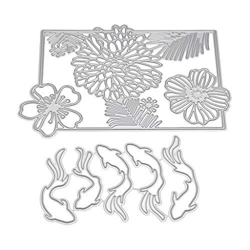Horenme Fish Flower Metal Cutting Dies Stencil DIY Scrapbooking Album Stamp Paper Card Embossing Craft Decor