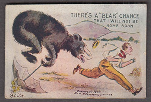 Bear Chance I'll Not Be Home Soon miniature comic postcard 1908 H H Tammen from The Jumping Frog