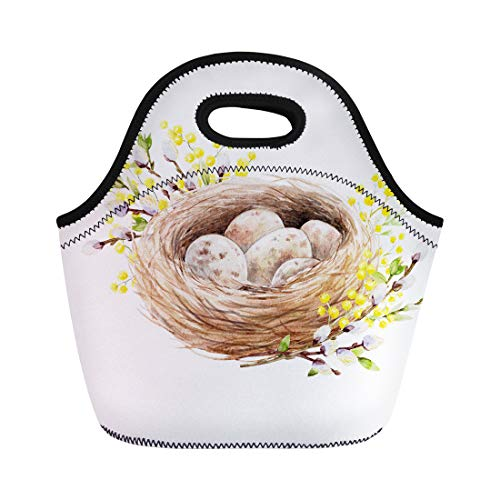 (Semtomn Neoprene Lunch Tote Bag Easter Spring Watercolor of Bird Nest Eggs Willow Branches Reusable Cooler Bags Insulated Thermal Picnic Handbag for Travel,School,Outdoors,)