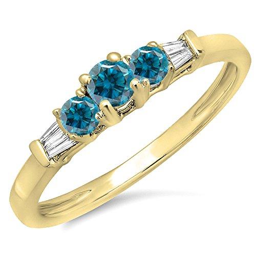 6 Diamond Baguette Stone Ring - Dazzlingrock Collection 0.45 Carat (ctw) 14K Yellow Gold Round & Baguette White & Blue Diamond 3 Stone Bridal Ring (Size 6)