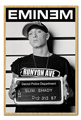 Eminem Slim Shady Mugshot Poster Cork Pin Memo Board Beech Framed - 96.5 x 66 cms (Approx 38 x 26 inches)