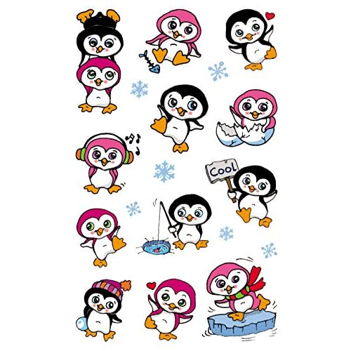 Autocollant Pingouin sticker bleu 4 cm