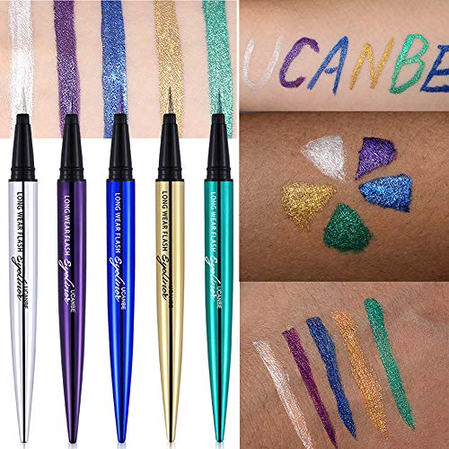 UCANBE 5PCS Liquid Eyeliner Pen Waterproof Eye Gel Shimmer Sparkle Smudge Proof Pigmented Eyeshadow Eye Liner Pencil Cosmetics (Set of 5)]()
