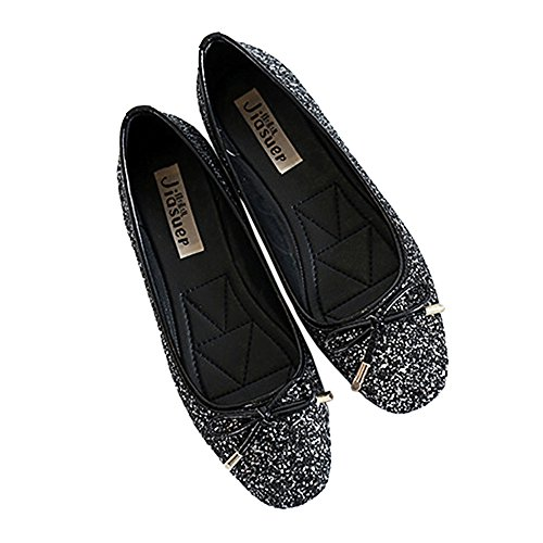 Square Flat 39 black Paillette Metal Thin Bowknot Shoes Dazzling wqtHxU
