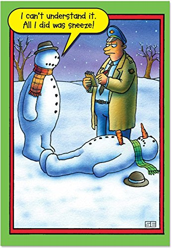 B5706 Box Set of 12 Snowman Sneeze Unique Hilariousous Christmas Greeting Cards with Envelopes