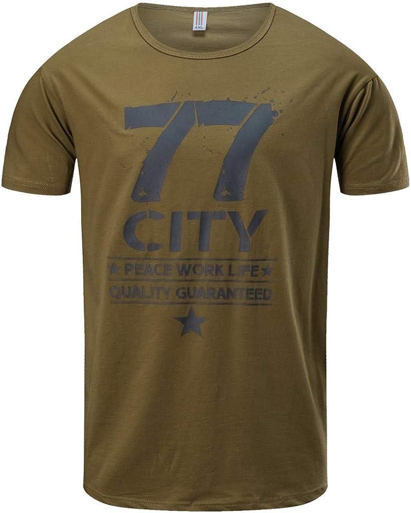 Camisa de Hombre, Internet_Sudadera con Estampado 77CITY, Camiseta de Manga Corta con Cuello Redondo en Color sólido Casual para Hombre(Verde/Gris/Caqui M-3XL): Amazon.es: Ropa y accesorios