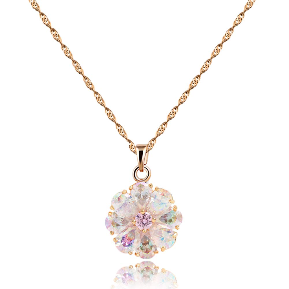 CZCITY Rose Gold Pendant Necklaces for Women - Flower Necklace 18K Rose Gold Plated Colorful Flower Necklaces Chain 1.25CT, Best for Girls Gifts and Daily Wear(20''+2'' Ext.) …