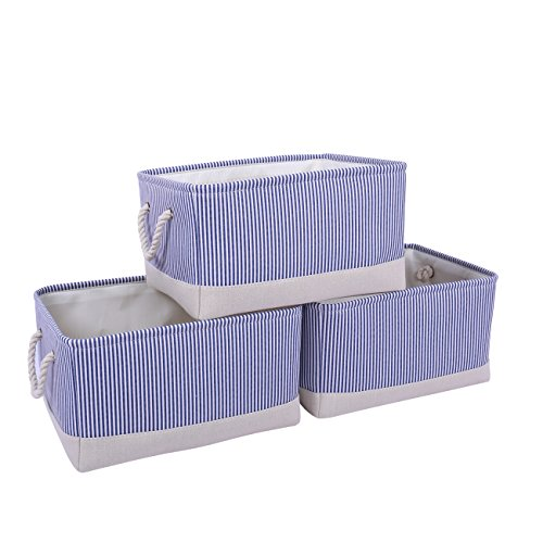 Blue Dog Ornaments - TheWarmHome Large Storage Bin Set Perfect for Toys, Clothes, Dog Toys, Nursery (3 Pack-Blue Stripe)