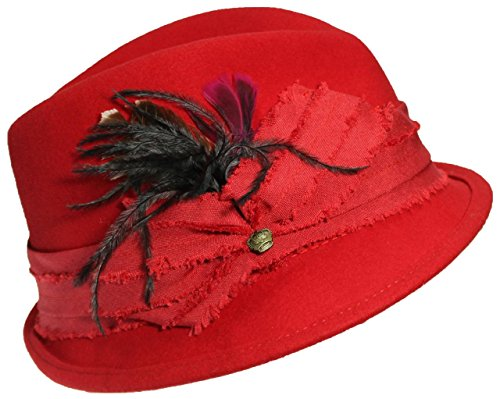ANGELA & WILLIAM Womens Wool Fedora Hat W/Feathers & Band with Knot & Charm - Red