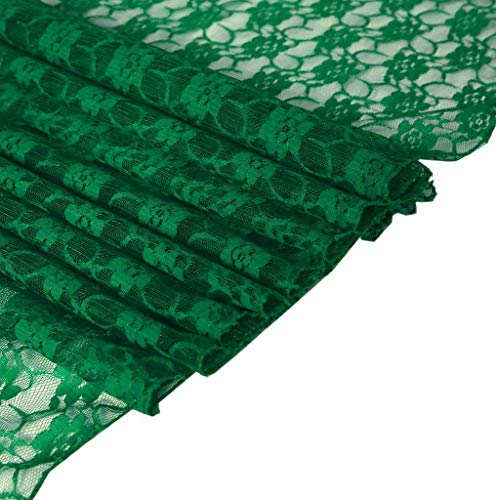 mds Pack of 10 Wedding 12 x 108 inch Lace Table Runner for Wedding Banquet Decor Table Lace Runner- Hunter Green
