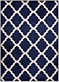 Comfy Collection Trellis Area Rug Lattice Modern Contemporary Rug 4 Color Options (Navy Blue, 18