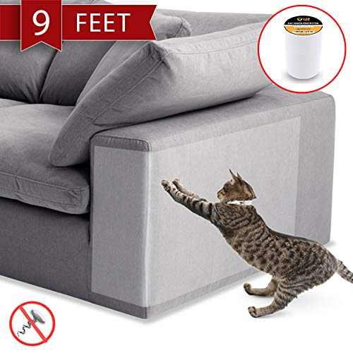 Anti-Scratch Cat Tape – 250% Wider, 8 Inches x 9 feet – Cat Scratch Prevention, Training and Deterrent Tape for Furniture, Couch Guard, Pet Scratch Protector for Sofa, Door, Carpet, Bed, Wall