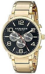 Akribos XXIV Men's AK803YGBK Multifunction Swiss Quartz Movement Watch with Black Dial and Yellow Gold Stainless Steel Bracelet