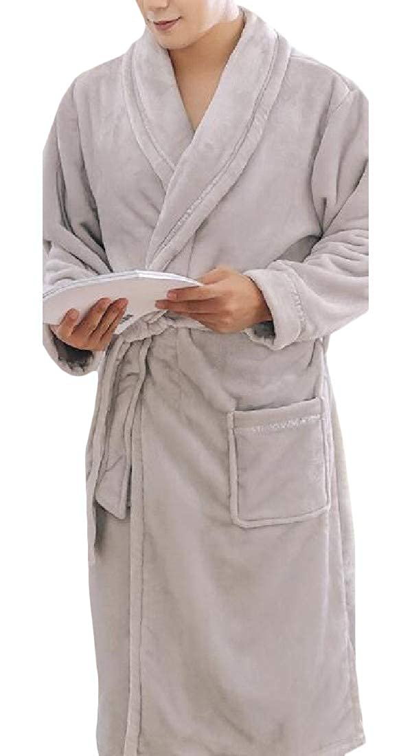 Sweatwater Mens Flannel Terry Kimono Warm Ultra Soft Print Sleepwear Robes