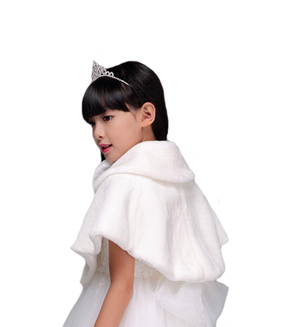 Genda 2Archer Flower Girl Cozy Faux Fur Bolero Shrug Ribbon Ties Princess Cape