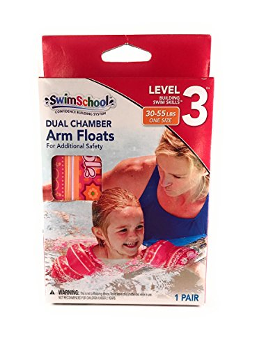 Swim School Dual Chamber Arm Floats Pink - 30-55 Lbs by SwimSchool