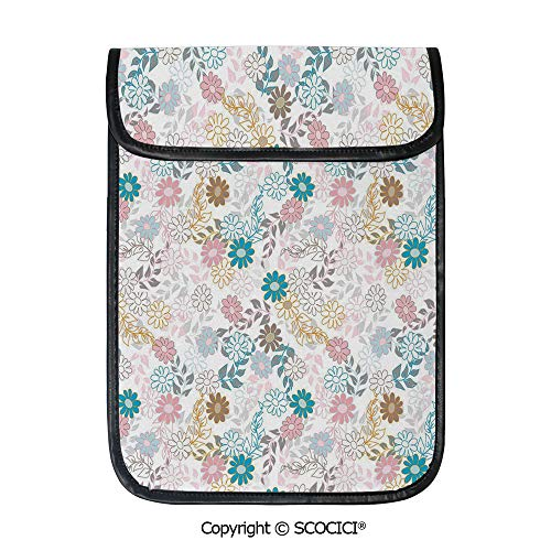 SCOCICI Simple Protective Cute Pastel Daisies and Leaves Blooming Retro Style Foliage Spring Color Palette Decorative Pouch Bag Sleeve Case Cover for 12.9 inches Tablets