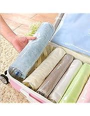 COMLIFE 10 Piezas Bolsas de Viaje de Almacenamiento de Compresión al Vacío Enrollables a Mano, Ahorradora de Espacio para Ropa, Almohadas, Toallas, etc - Transparente