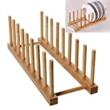 WINIT Bamboo Dish Drying Holder Rack, Vertical Plate Dishes Drainboard Drying Drainer Storage Holder Stand Kitchen Cabinet Organizer for Dish Plate Bowl Cup Pot Lid Book (Large/8)