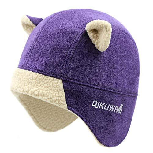 (Women Russian Ushanka Faux Cashmere Bomber Hat Trooper Aviator Cap Kawaii Earflap Cat Ear Trapper Winter Fleece Snow Ski Cap (One Size,Purple))