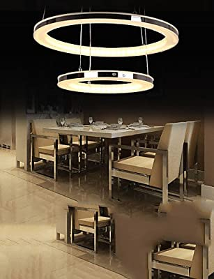 Round LED Ceiling Pendant Light Acrylic Chandelier Lighting for Home Deco Dining Room with 2 Rings Lamps Fixtures
