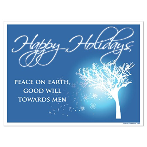 VictoryStore Yard Sign Outdoor Lawn Decorations: Happy Holidays, Peace on Earth, Goodwill Towards Men Yard Sign 2 EZ Stakes