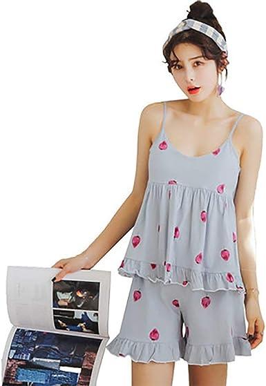 Pijamas Mujer Verano Sin Mangas Sling Estampadas Conjunto De ...