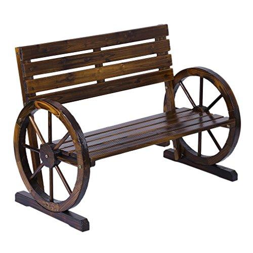 Blackpoolfa 1030 x 510 x 740 mm Premium Rustic Wooden Wagon Wheel Bench | Patio Garden Wood Design Outdoor Furniture (350lbs)