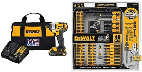 DEWALT DCF885C1 20V Max 1 4 Impact Driver Kit, with DWA2T40IR IMPACT READY FlexTorq Screw Driving Set, 40-Piece
