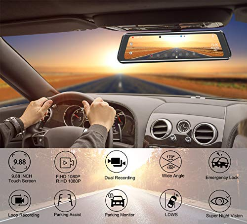 Mirror Dash Cam 9.88 inch Full Touch Screen Car Backup Camera Dual Recording HD Front 1080P 170° Wide Angle 1080P Rear View Camera 150° URVOLAX Night Vision,24-Hour Parking,GPS, SD Card by URVOLAX (Image #1)