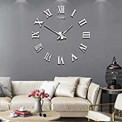 Frameless DIY Wall Clock Silent 3D Acrylic Sticker Roman Numbers Adhesive Modern Art Wall Clock Parts Kit Home Decorations for Living Room Bedroom (2-year warranty) (Silver-017)