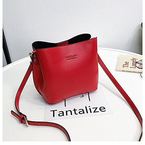 tipo colore puro a donne Simple secchio pelle Crossbody morbida tracolla MIMI KING borse Red Fashion Khaki Small per xgBOw