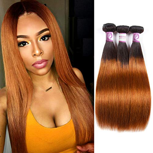 Racily Hair 1B/30 Ombre Brazilian Hair Straight 3 Bundles Deals Color Black to Dark Brown 8A Remy Silky Straight Virgin Human Hair Sew in Weave 10-26 Inch Unprocessed Hair (14
