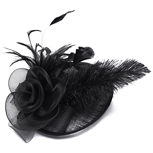 Lusiyu Womens Feather Mesh Net Sinamay Fascinator Hat with Hair Clip Tea Party Derby (Black 03) by Lusiyu (Image #2)