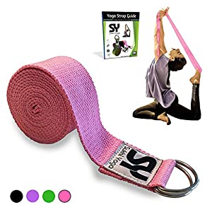 Sukhi Yoga Super Soft Yoga Strap D-Ring, Perfect Stretching, Holding Poses, Improving Flexibility Physical Therapy