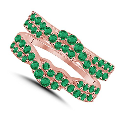 Gorgeous Look Very Beautifully Design 14K Rose Gold Plated Base Alloy 1.00 ct Round-Cut Lab Created Green Emerald Enhancer Solitaire Ring Guard Jewelry - Emerald Solitaire Enhancer