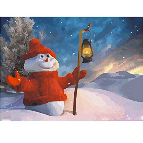 LovetheFamily 数字油絵 数字キット塗り絵 手塗り DIY絵 デジタル油絵 雪だるまと街灯 40x50cm ホーム オフィス装飾の商品画像