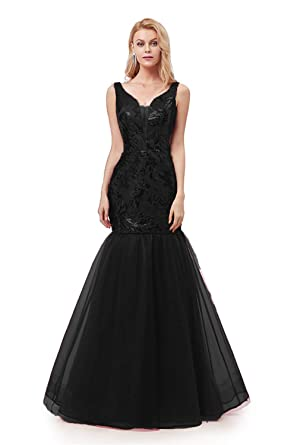 712277810ca LCRS Women s Plunging V-Neck Sequin Mermaid Evening Dresses Long Tulle  Trumpet Prom Party Ball