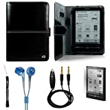 Black Travel / Business Durable Portfolio Protective Cover Case Leather Jacket for Sony Reader Touch Edition PRS650 PRS 650 eReader Device (Compatible with all colors) + Indlues a 4-Inch Determination Hand Strap + Includes a Anti Glare Screen Protector + Includes a Crystal Clear High Quality HD Noise Filter Ear buds Earphones Headphones ( 3.5mm Jack ) + Includes a 3.5mm Stereo Audio Cable With Built In Microphone