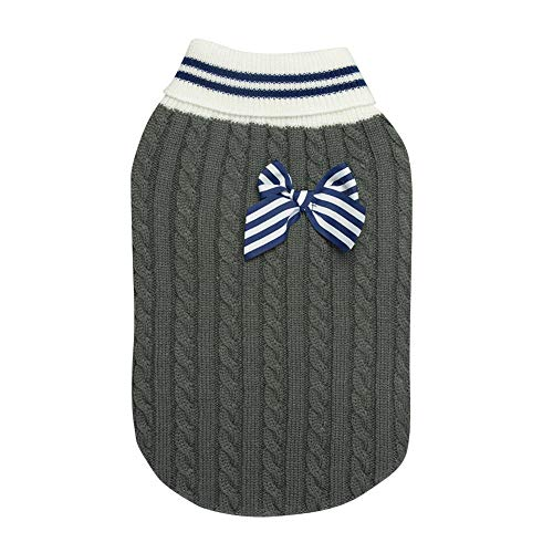 - Ihoming Pet Autumn Winter Sweater Knit Dog Cat Pullover with Striped Bow Grey L