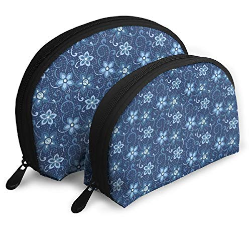 Shell Shape Makeup Bag Set Portable Purse Travel Cosmetic Pouch,Polka Dotted Background With Floral Composition Curves And Swirls Abstract,Women Toiletry Clutch